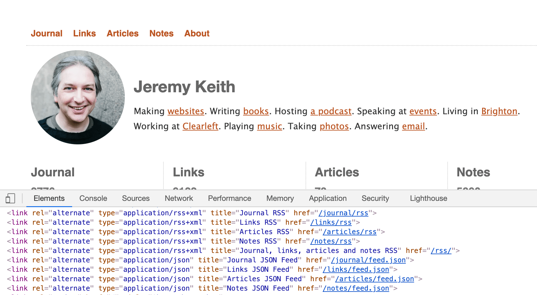 Screenshot of adactio.com with the developer tools open showing the RSS link tags to his various feed URLs.