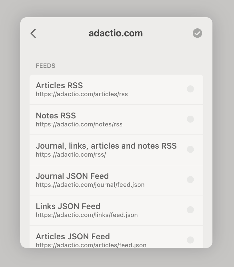 Screenshot of the Reeder app's autodiscovery of the feed URLs on adactio.com