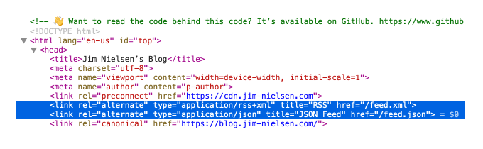 Screenshot of the HTML on blog.jim-nielsen.com with the RSS feed link elements defined.