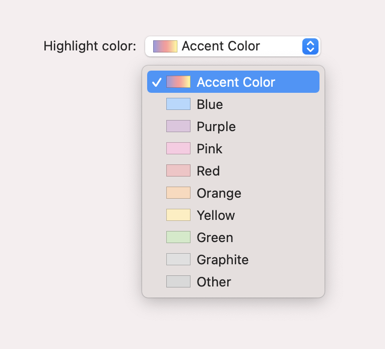 "Screenshot of the ""Highlight color"" setting in macOS system preferences, which is a dropdown of color values prefixed with a visual representation of the color itself."