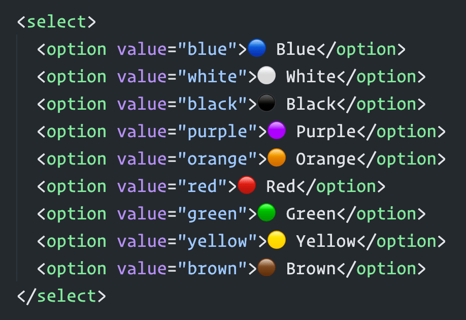 Screenshot of some HTML in VSCode that shows emojis embedded as text.
