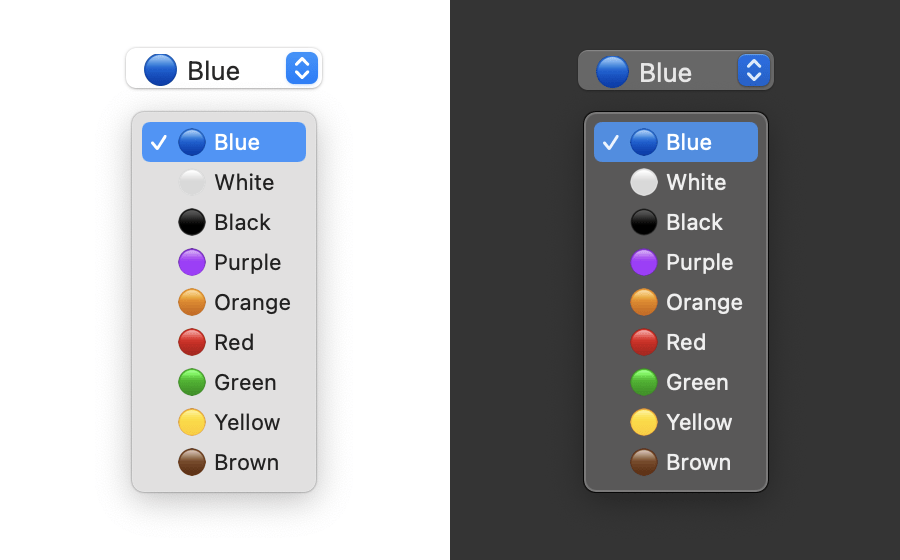 Screenshot of a select dropdown menu with emojis as color prefixes in both light and dark mode.