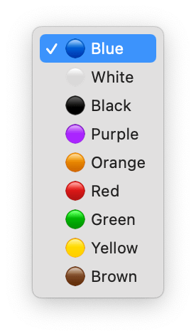 Screenshot of a select dropdown menu with emojis as color prefixes.