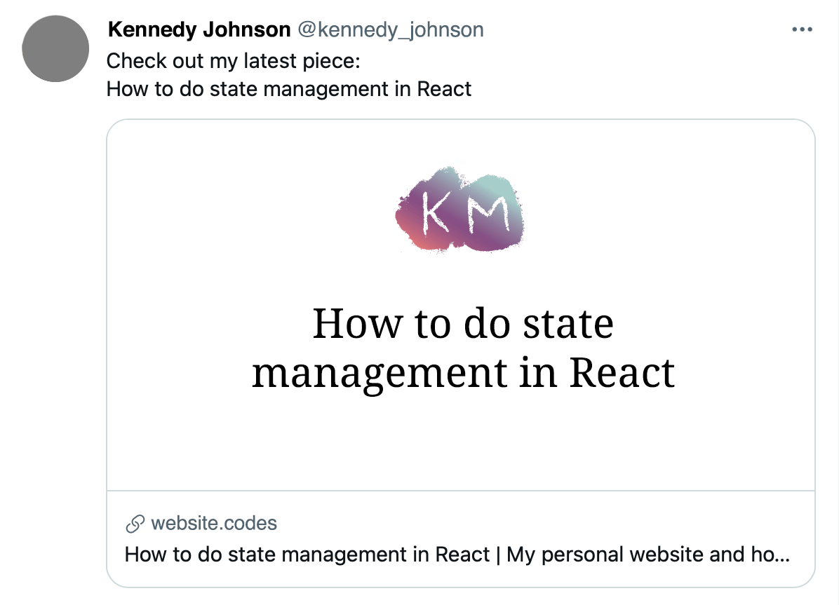 """Example tweet where the tweet text, the URL link preview, and the social image preview all state the title of the article: """"How to do state management in react�"""