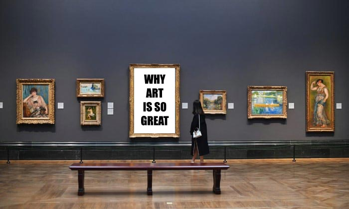 Photograph of a museum exhibit where one of the pieces of art is a giant billboard of text.