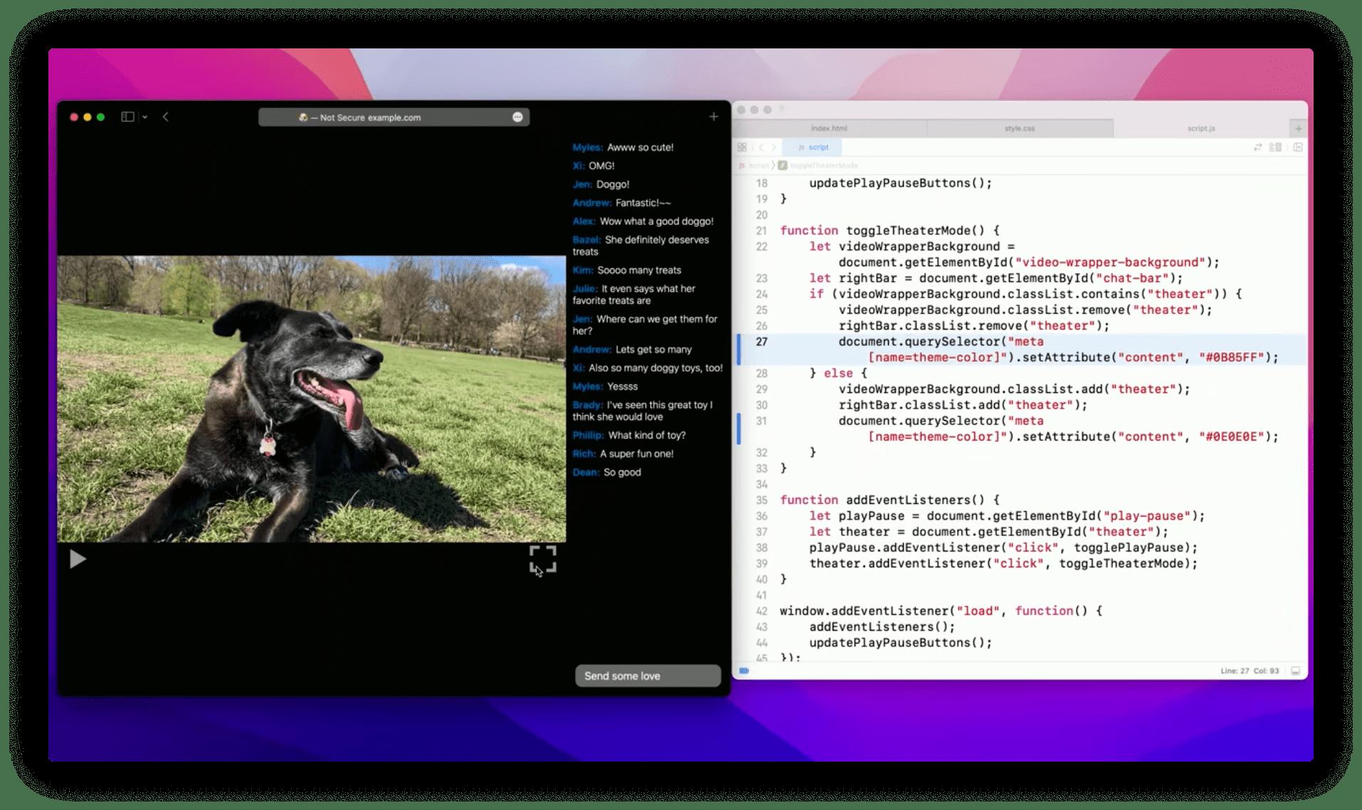 "Screenshot from ""Design for Safari 15 - WWDC21� video where Safari's application chrome is set to a black color dynamically via JavaScript."