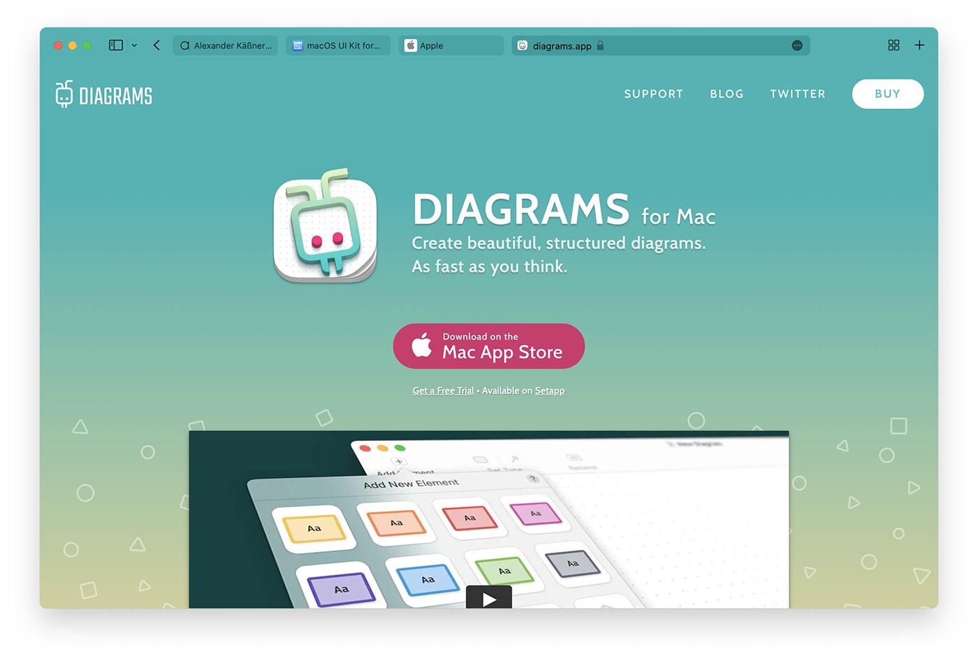 Screenshot of diagrams.app with a custom theme color in Safari 15.