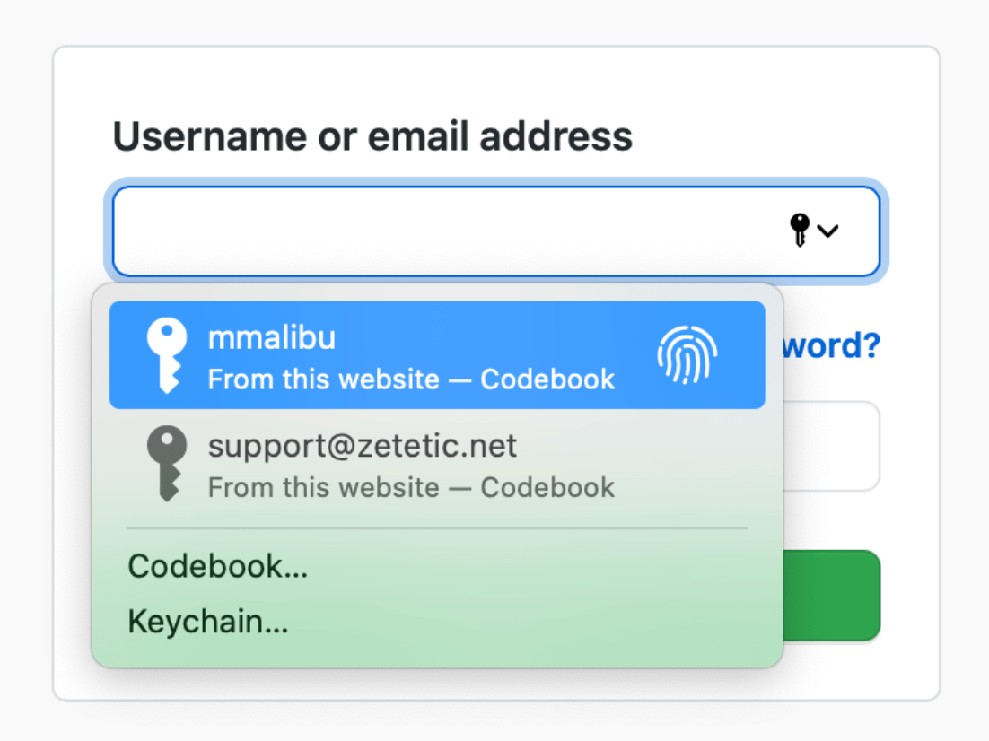 A form field in Safari with webkit-specific UI elements denoting the field can be autofilled by the OS with credentials the user has saved.