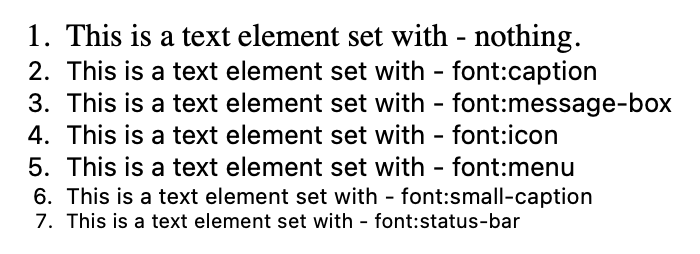 Screenshot of various fonts displayed in HTML and styled with the system font keyword shorthand.