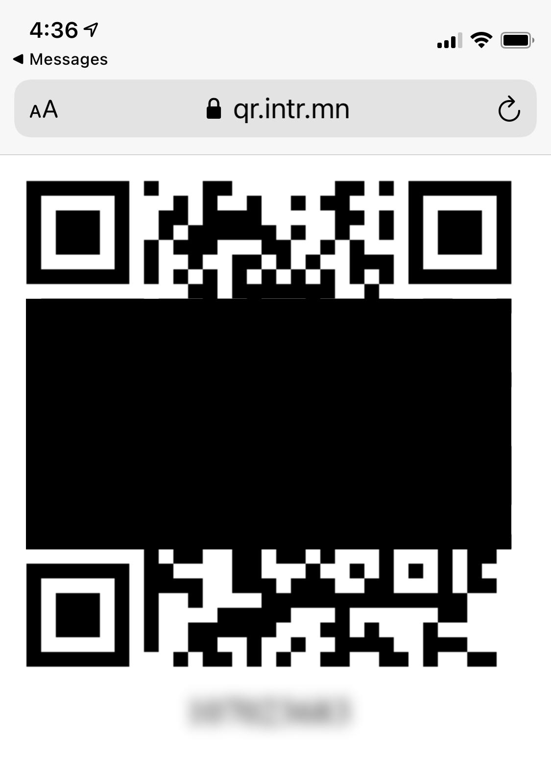 Screenshot of mobile safari with a web page displaying a QR code and a number (with sensitive info removed).