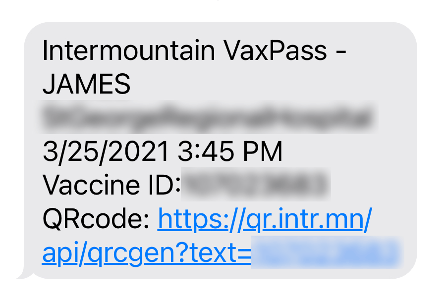 Screenshot of a text in iMessage showing vaccine info and a link.